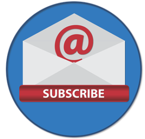 Subscribe icon with envelope red and blue